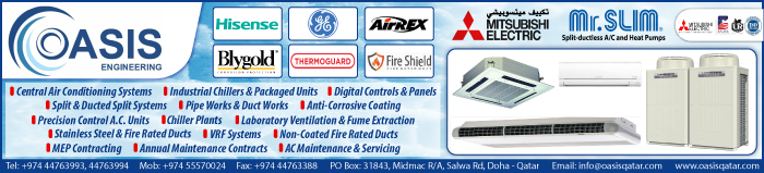 AIR CONDITIONING EQUIPMENT AND SYSTEMS OASIS ENGINEERING CO LLC SUPPLIERS IN DOHA QATAR CLPL