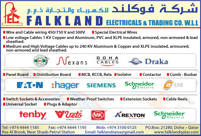 CABLE & WIRE SUPPLIERS FALKLAND ELECTRICALS & TRADING CO WLL SUPPLIERS IN DOHA QATAR CL1/2H
