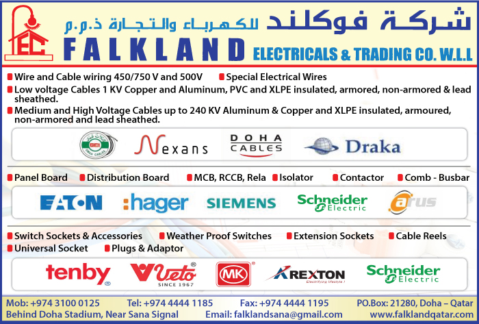 CABLE & WIRE SUPPLIERS FALKLAND ELECTRICALS & TRADING CO WLL SUPPLIERS IN DOHA QATAR