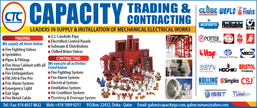 ELECTRO - MECHANICAL CONTRACTORS CAPACITY TRADING & CONTRACTING SUPPLIERS IN DOHA QATAR WSPABA
