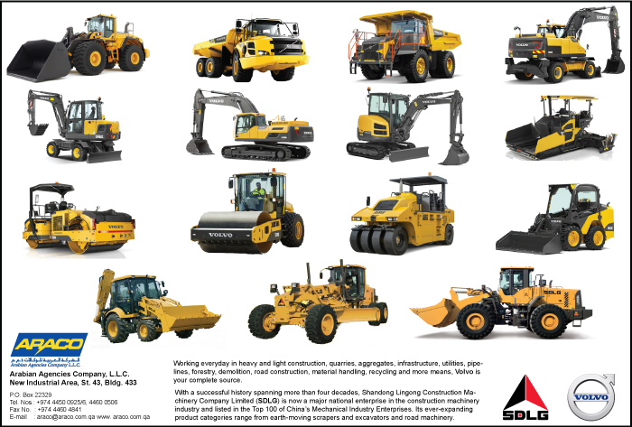 CONSTRUCTION EQUIPT & MACHINERY SUPPLIERS ARABIAN AGENCIES CO ( ARACO ) WLL SUPPLIERS IN DOHA QATAR CL1/2H