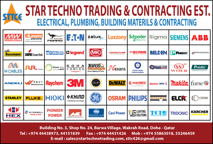 ELECTRICAL EQUIPMENT SUPPLIERS STAR TECHNO TRADING & CONTG EST SUPPLIERS IN DOHA QATAR CL1/2H