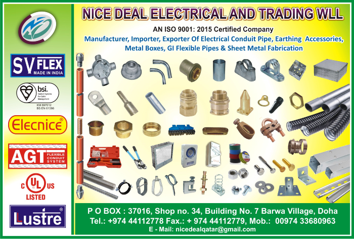 ELECTRICAL EQUIPT SUPPLIERS NICE DEAL ELECTRICAL & TRADING WLL SUPPLIERS IN DOHA QATAR CL1/2H