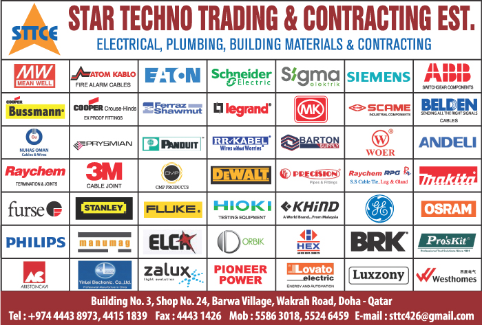 ELECTRICAL EQUIPT SUPPLIERS STAR TECHNO TRADING & CONTG EST SUPPLIERS IN DOHA QATAR CL1/2H