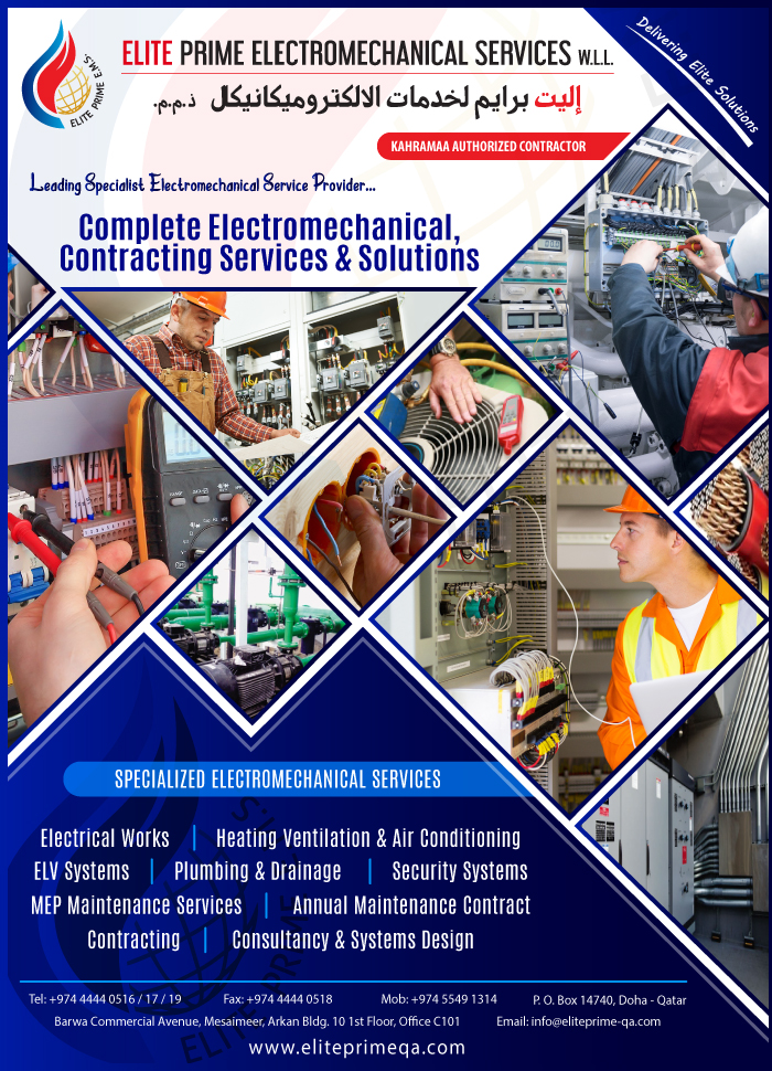 ELECTRO - MECHANICAL CONTRACTORS ELITE PRIME ELECTROMECHANICAL SERVICES WLL SUPPLIERS IN DOHA QATAR CLFP