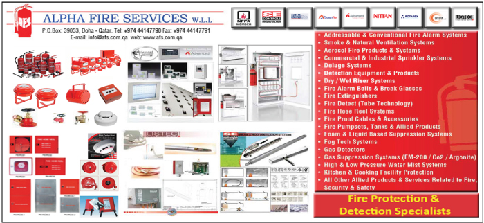 FIRE PROTECTION & DETECTION CONTRACTORS ALPHA FIRE SERVICES WLL SUPPLIERS IN DOHA QATAR