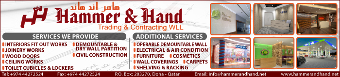 FIT OUT CONTRACTORS HAMMER & HAND TRADING & CONTRACTING WLL SUPPLIERS IN DOHA QATAR CLPL