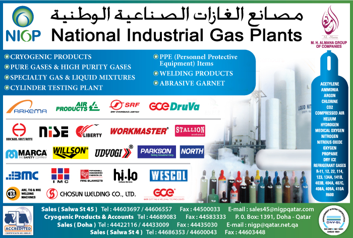 GAS MANUFACTURERS NATIONAL INDUSTRIAL GAS PLANTS SUPPLIERS IN DOHA QATAR CL1/2H