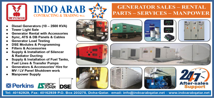 GENERATORS - HIRE INDO ARAB CONTRACTING & TRADING WLL SUPPLIERS IN DOHA QATAR CL3H
