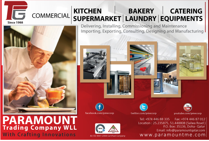 KITCHEN EQUIPMENT - COMMERCIAL & INDUSTRIAL PARAMOUNT TRADING CO WLL SUPPLIERS IN DOHA QATAR CL1/2H