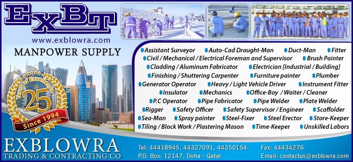 MANPOWER SUPPLIERS EXBLOWRA TRDG & CONTG SVCS CO SUPPLIERS IN DOHA QATAR CL3H