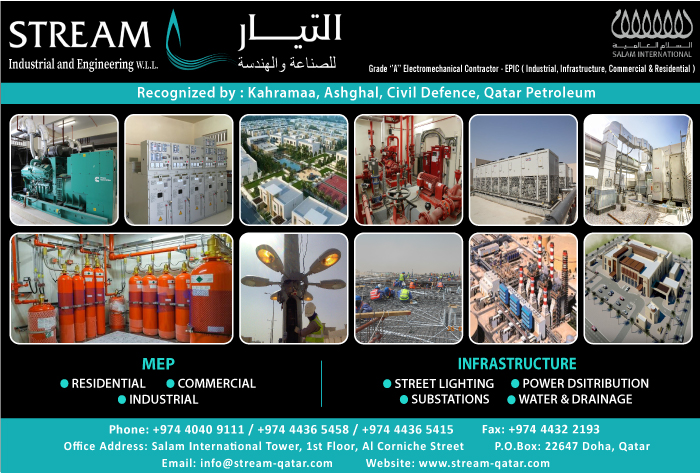 MEP CONTRACTORS STREAM INDUSTRIAL AND ENGINEERING WLL SUPPLIERS IN DOHA QATAR CL1/2H