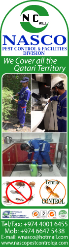 PEST CONTROL SERVICES NASCO CLEANING & PEST CONTROL WLL SUPPLIERS IN DOHA QATAR WSRBPC