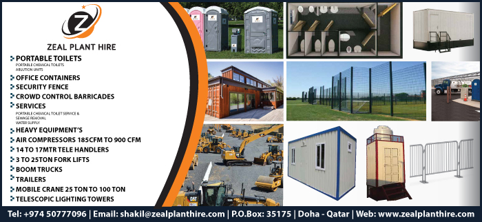 PORTABLE TOILETS ZEAL PLANT HIRE EQUIPMENTS & SERVICES WLL SUPPLIERS IN DOHA QATAR CL3H