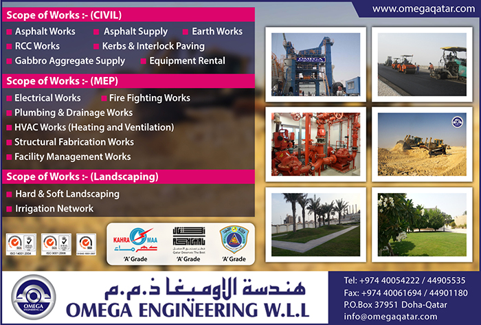 ROAD BUILDING CONTRACTORS OMEGA ENGINEERING WLL SUPPLIERS IN DOHA QATAR CL1/2H
