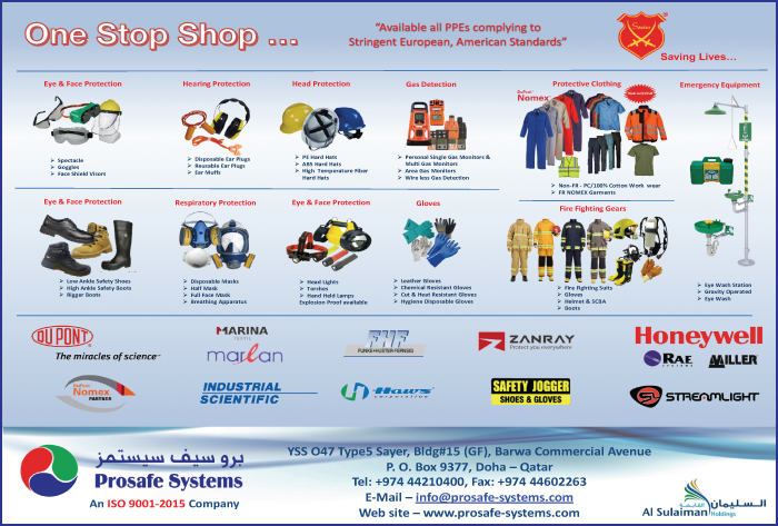 SAFETY EQUIPT & CLOTHING PROSAFE SYSTEMS SUPPLIERS IN DOHA QATAR CL1/2H