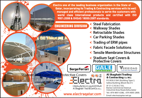 TENSILE MEMBRANE STRUCTURES ELECTRA - AL SHAGHAIRI TRADING & CONTRACTING CO WLL (ENGINEERING DIV) SUPPLIERS IN DOHA QATAR CL2H